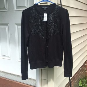 NWT Ann Taylor floral embroidered beaded cardigan